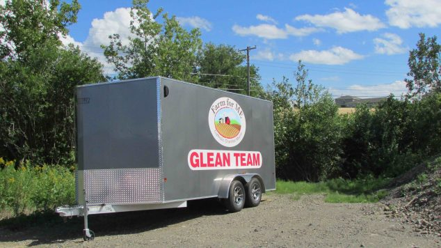 "Image of a trailer with the words ""Glean Team"" printed on the side"