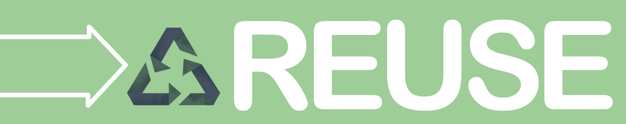 Reuse banner with arrow icon and modified recycling logo graphic