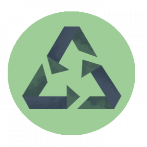Graphic of modified recycling symbol
