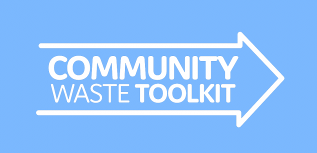 "Arrow with words ""Community Waste Toolkit"" inside"