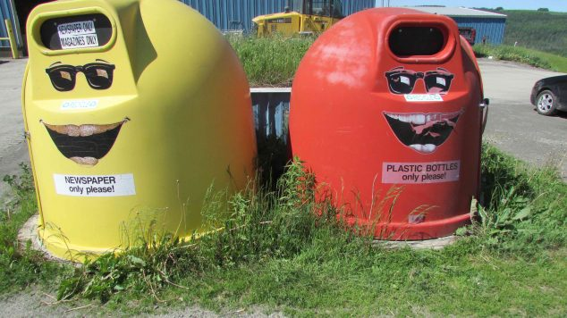 Image of two smiling recycling bins