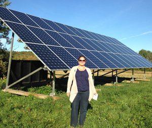 Sharon Klein with solar array