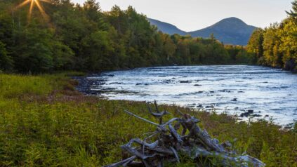 East Branch Penobscot River at Stair Falls, Maine, with Mt. Katahdin in distance
