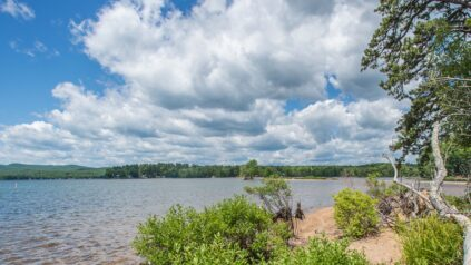 View of Sebago Lake, Maine, clouds overhead