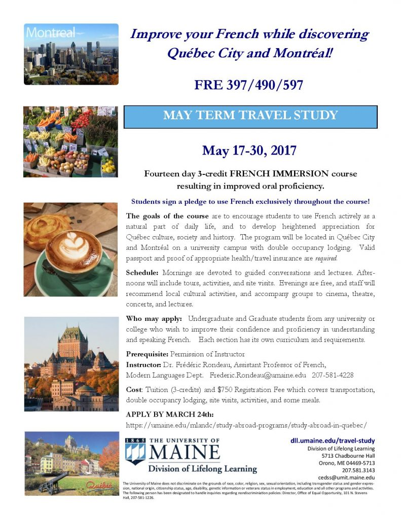 2017 French May Term in Quebec flyer