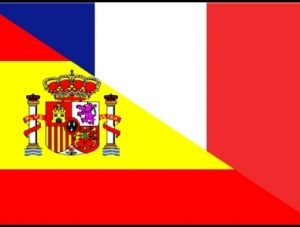 French & Spanish flags