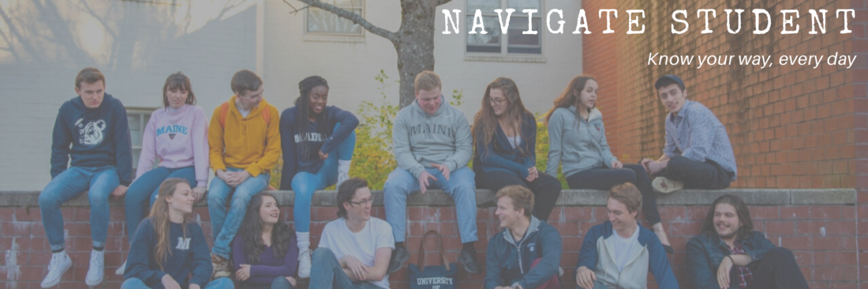 Fourteen students sitting on the bench on campus and talking/smiling at each other, with the Navigate Student logo on the top of the picture