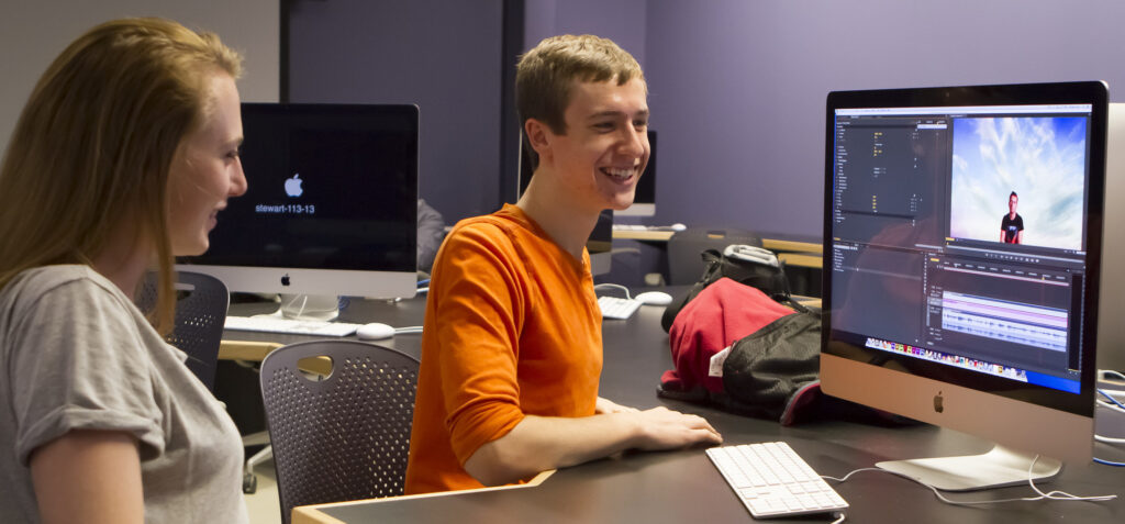 New Media students working at the Innovative Media Research and Commercialization center