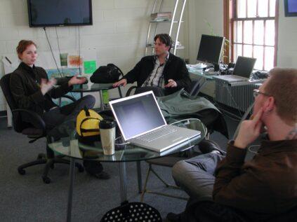 Vanessa Vobis and Craig Dietrich in the Still Water lab, 2008