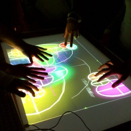 Multi-user touch table developed by ASAP, photo by Zev Eisenberg