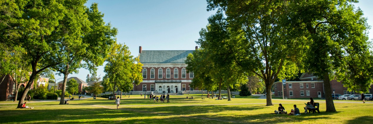 University of Maine's Mall and Fogler Library in summer