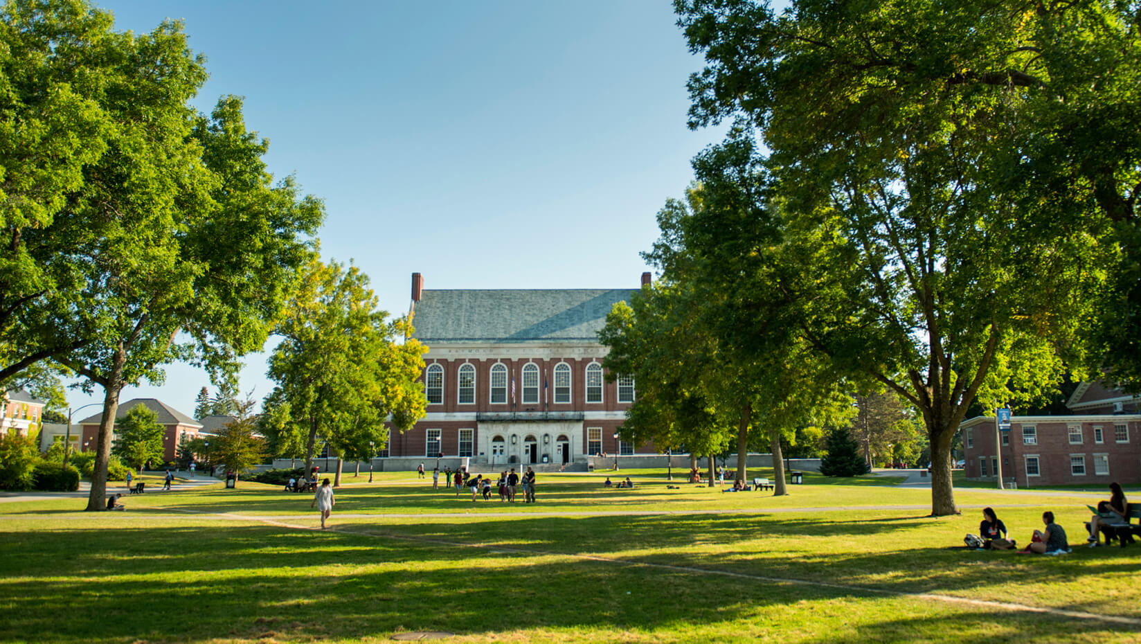University of Maine Mall and Fogler Library in summer