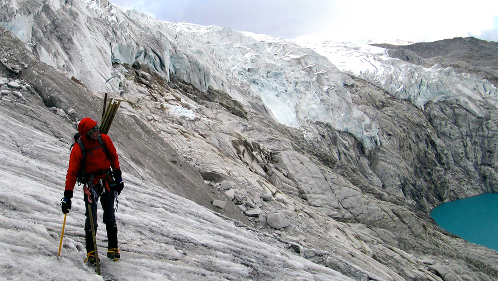 Aaron Putnam on a glacier in Bhutan