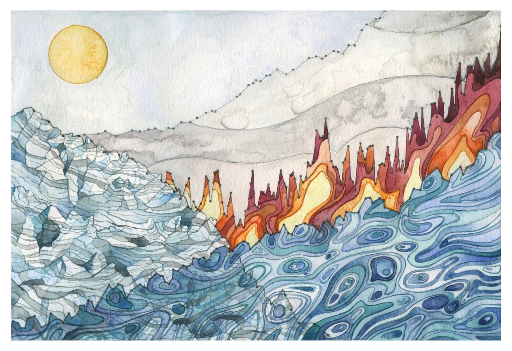"""""""Landscape of Change,"""" Jill Pelto, 2016"""
