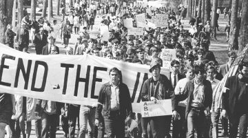 Vietnam War protest on campus in the 1960s