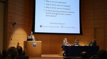 Paul Mayewski speaks at the Maine-Arctic Forum in Portland, Maine