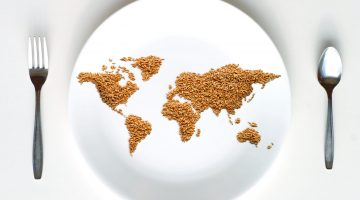 Map of the world made of grain on a plate, with a fork and spoon on either side