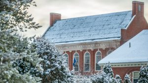 Fogler Library roof in winter