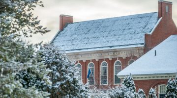 Fogler Library roof in winter