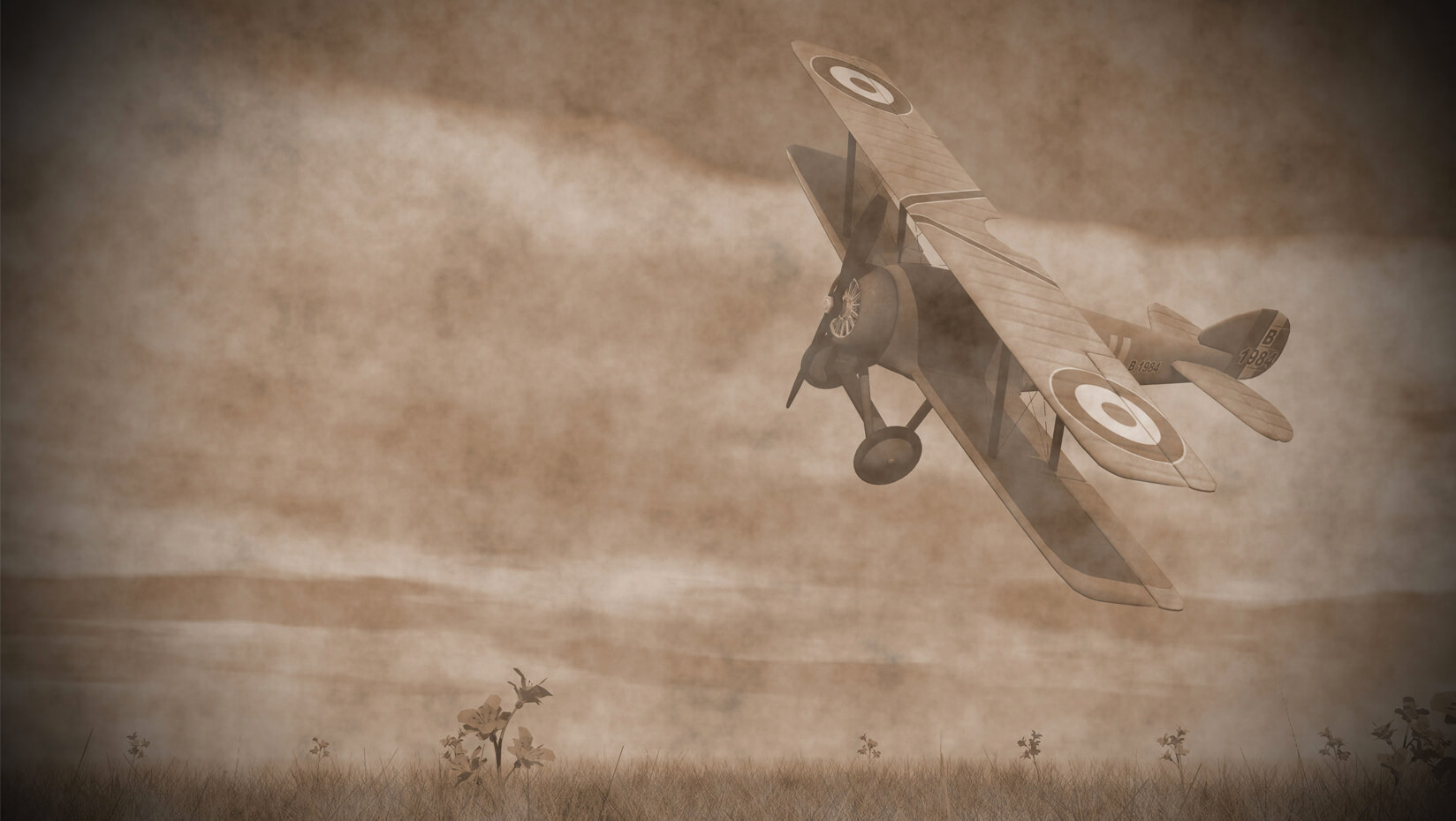 WWI plane flying of a field