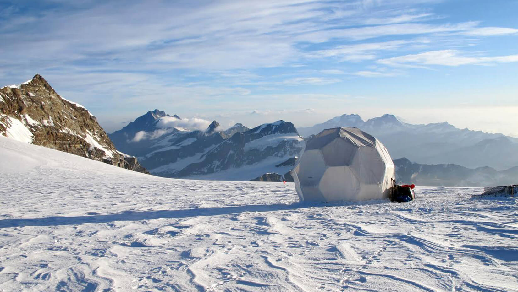 Tent on a snowy mountain