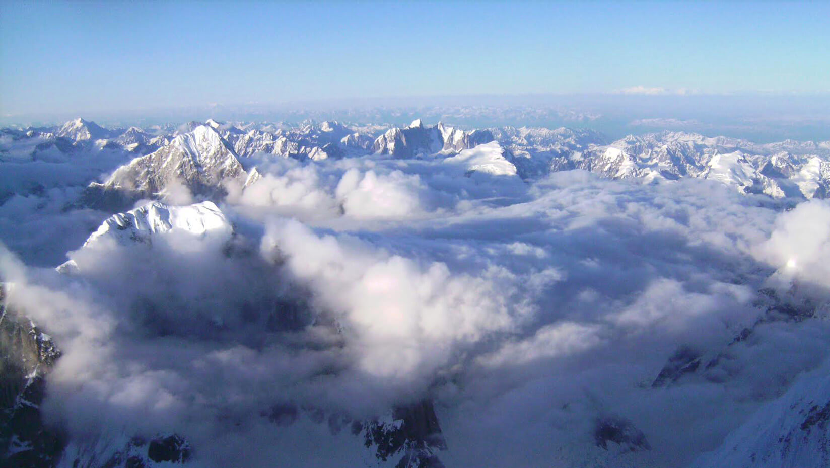 Mountian peaks in the clouds