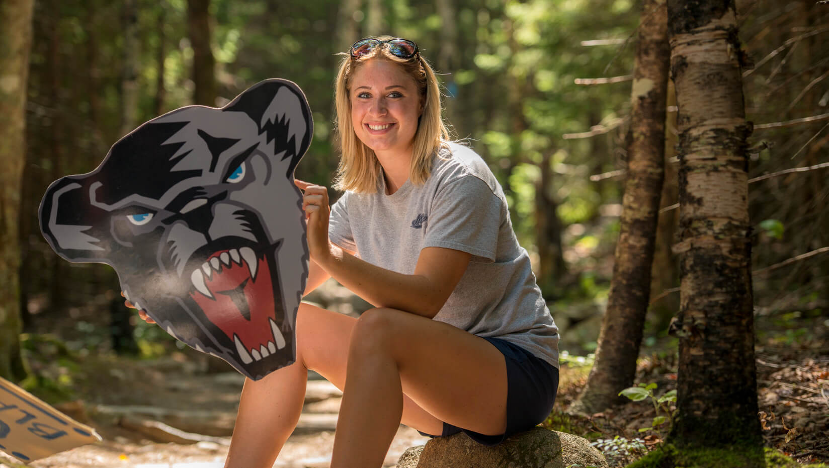 UMaine student in Acadia National Park
