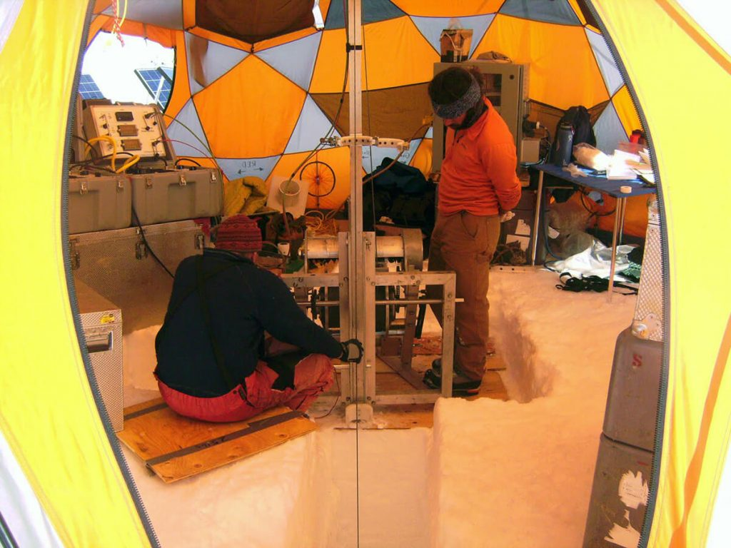 Scientist in a tent