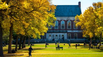 Fogler Library during fall