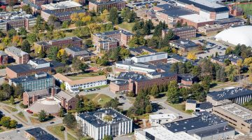 Aerial view of engineering buildings on UMaine's campus in Orono