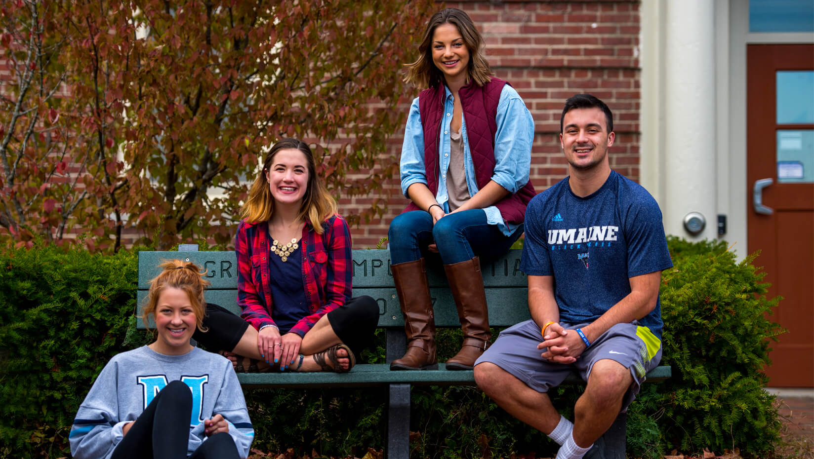 UMaine students outside in fall