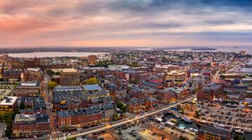 Portland, Maine aerial of city