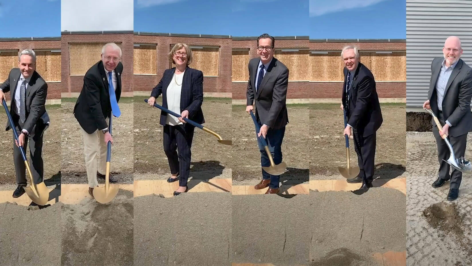 People with shovels at a virtual groundbreaking ceremony
