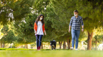 A couple walking a dog in a park