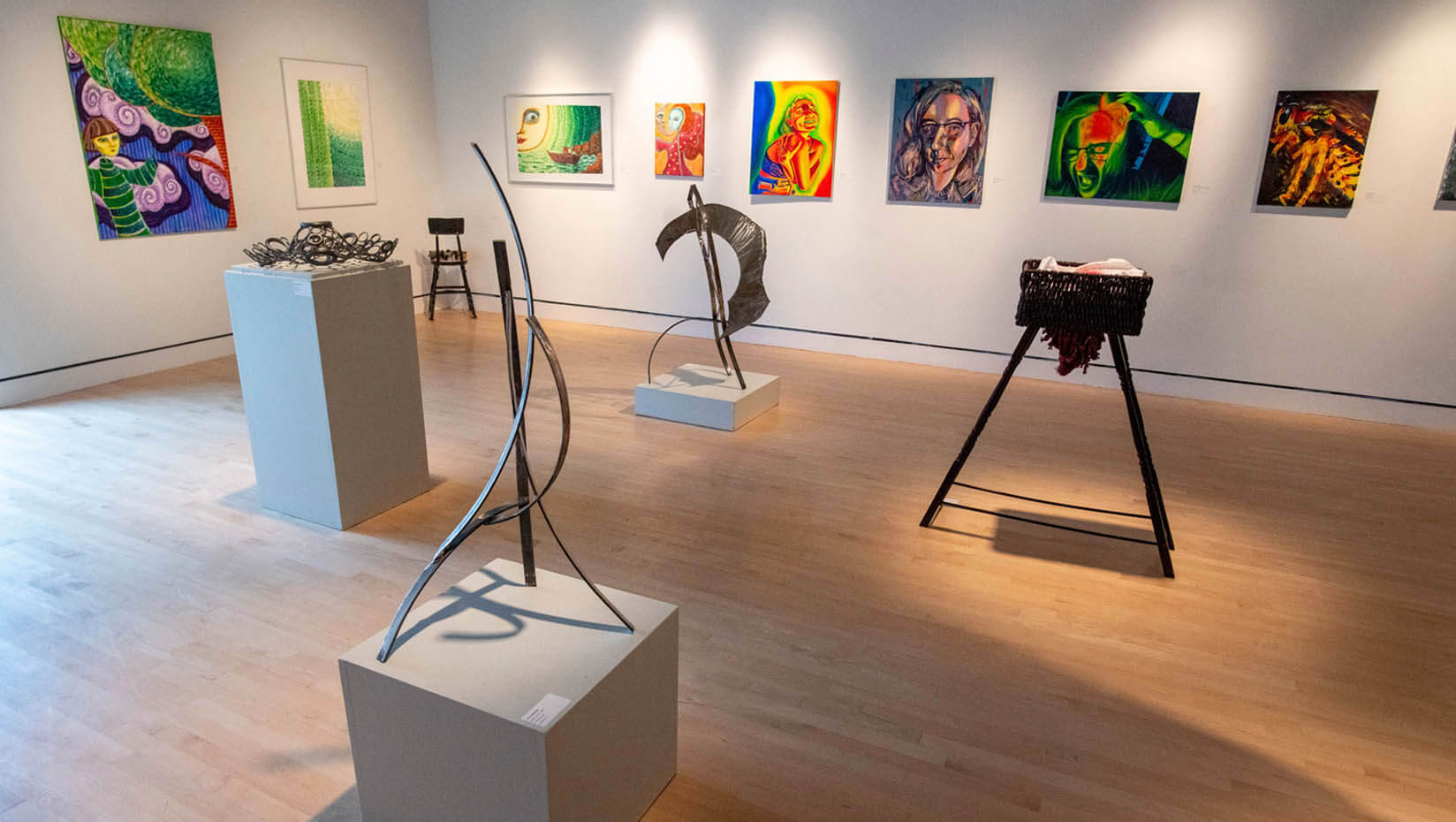 """Senior art exhibition """"Surviving Anecdotes"""" in the Lord Hall gallery."""