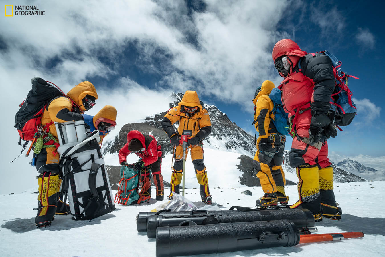 A team drills an ice core on Mount Everest.