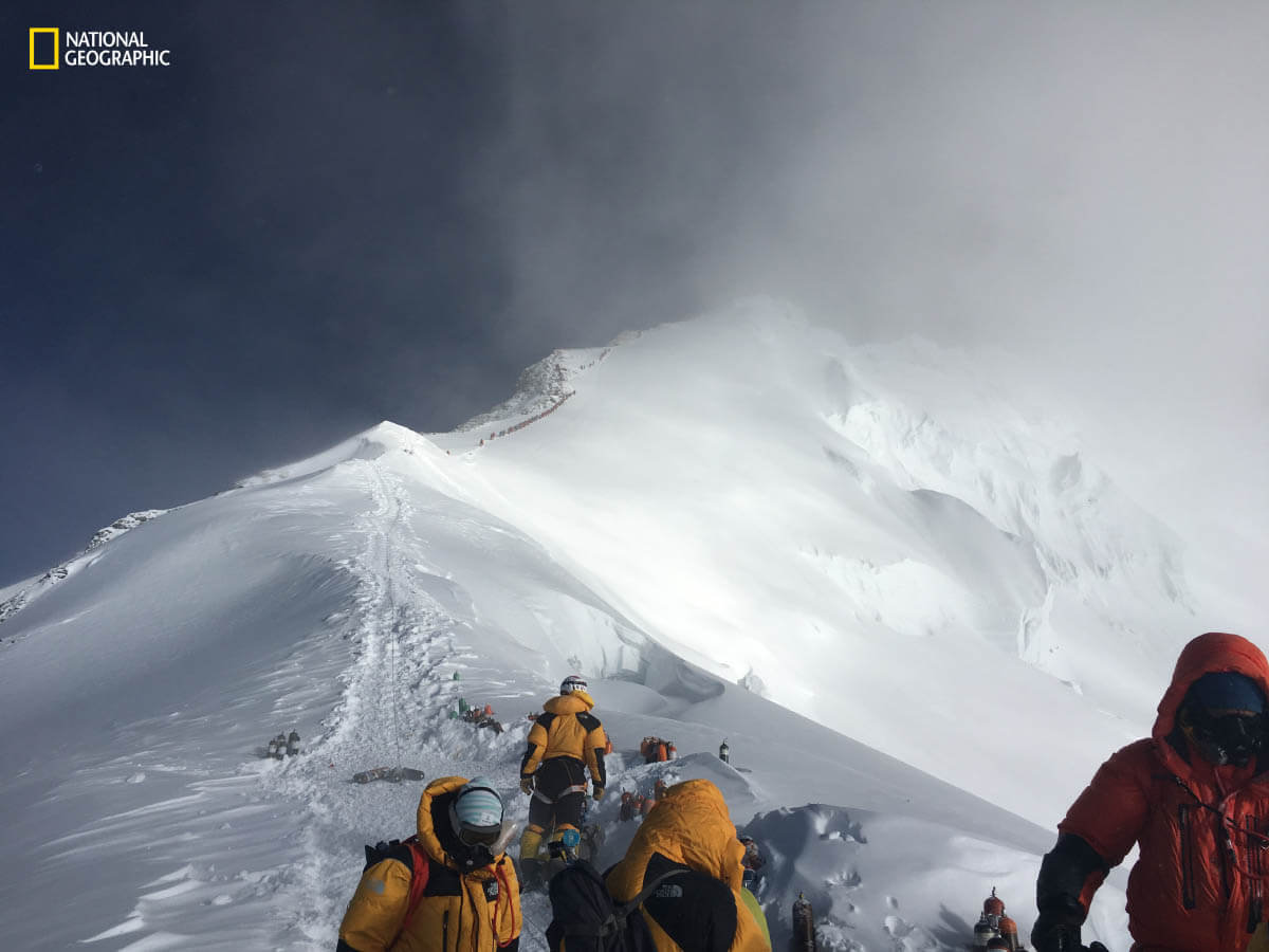 Climbers approach the summit of Mount Everest