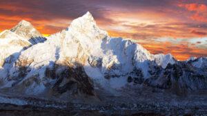 Mount Everest illuminated during sunset