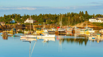 Image of lobster boats at a working waterfront in Maine
