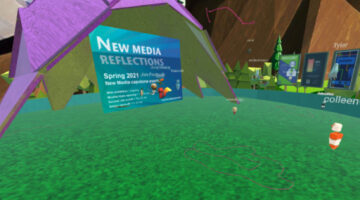 Attendee explores virtual exhibition of 2021 New Media seniors' capstone projects