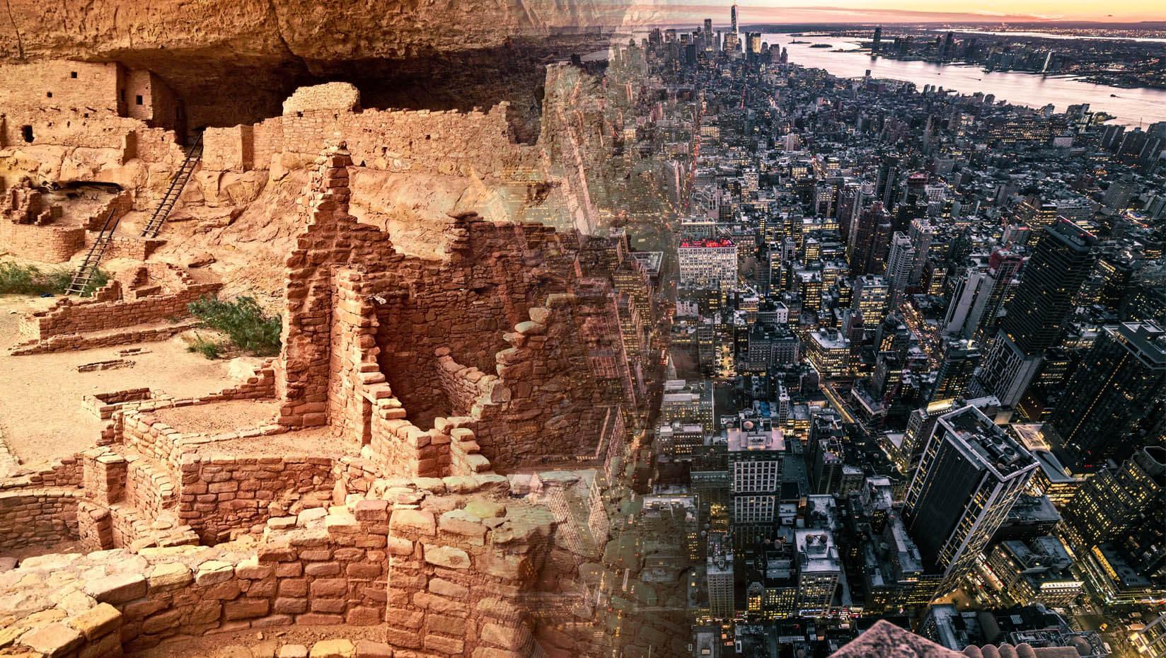 An ancient civilization morphs into a modern city