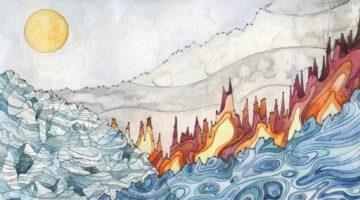 Landscape of change watercolor artwork by Jill Pelto
