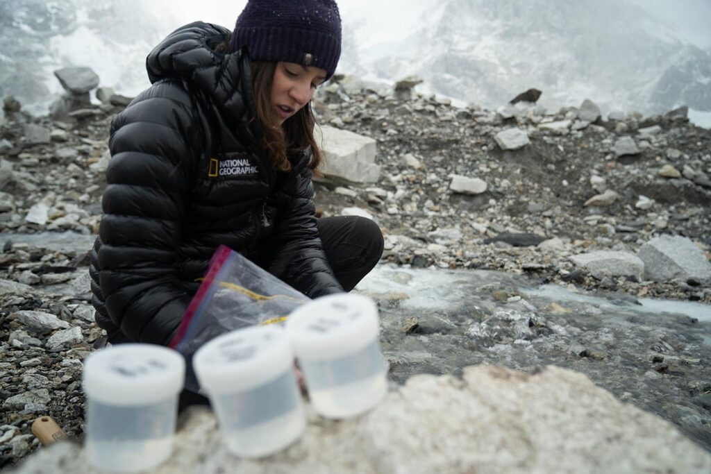 Heather Clifford collects samples near Everest Base Camp.