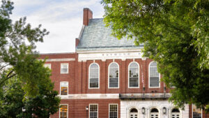 A view of Fogler Library from the UMaine Mall