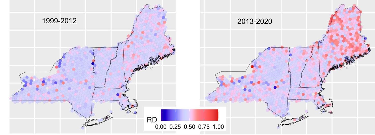 A graphic shows the increase in forest density in Maine from 1999 to 2012