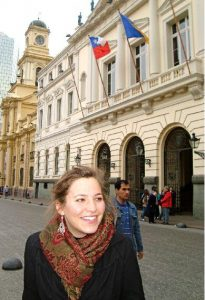 Allison Doe, BSN walking down the street in Santiago Chile