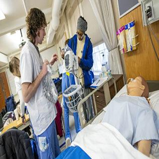 UMaine Nursing Students in skills lab