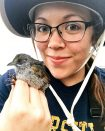 Kenzie Roder holds a very handsome sparrow