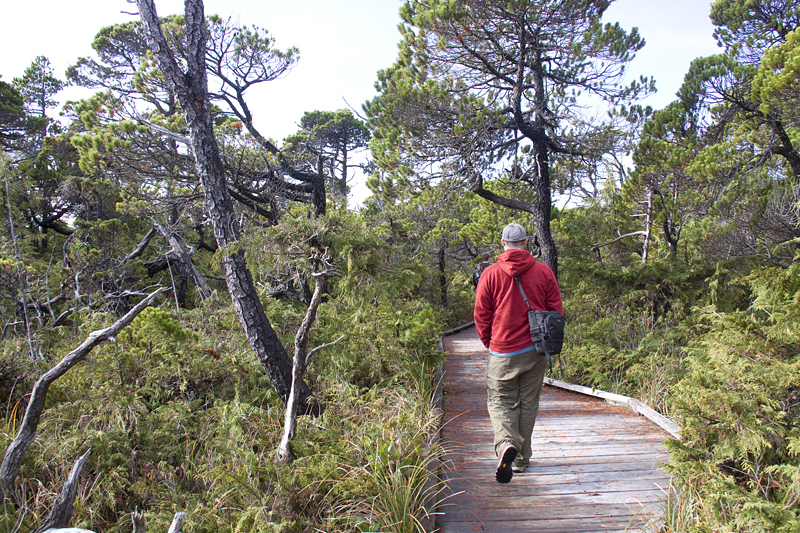 man walking along the board walk