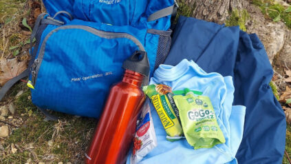 photo of food and water for hiking